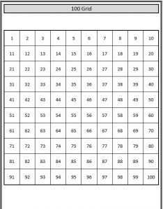 100 grid number worksheets