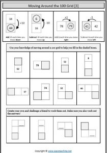 number grid moving around number worksheets