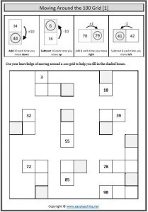 100 number grid moving around worksheet
