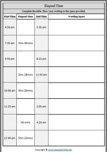 elapsed time table activity sheet