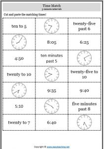 5 minute intervals telling time cut paste telling time worksheets