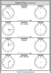 elapsed time 5 minute intervals