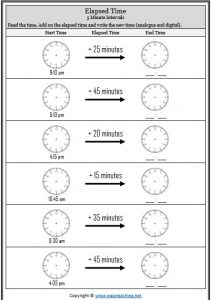 elapsed time 5 minute intervals worksheet