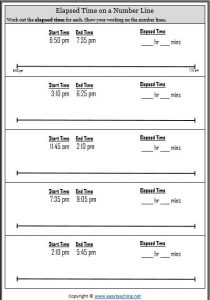 calculate elapsed time worksheet 5 minute intervals