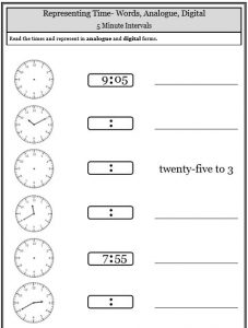 5 minute intervals missing times telling time worksheets