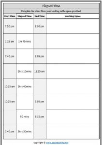 elapsed time table worksheet 5 minute intervals