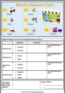 finding total whole dollar shopping money worksheet