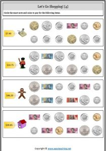 counting collection coins notes money worksheet shopping