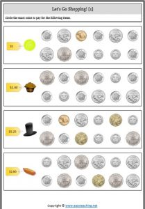 counting collection coins money worksheet shopping