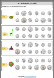 adding collection coins money worksheet shopping counting money worksheets
