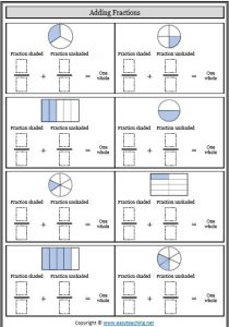 adding to whole fractions adding fractions worksheets