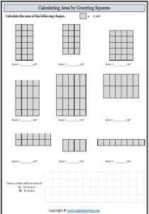 area worksheet maths