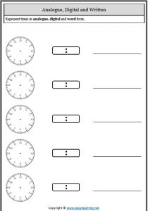 representing time telling time worksheets