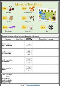calculating change money shopping worksheet