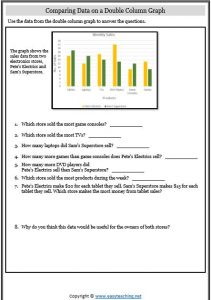 comparing data double column graph worksheet
