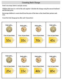 counting back change activity money calculating change