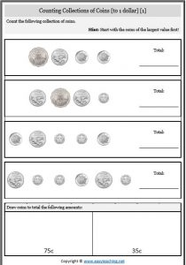 counting collections money coins counting money worksheets