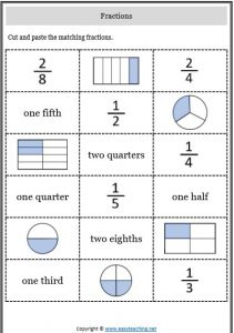 fractions match cut and paste representing fractions worksheets