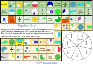 fractions board game maths
