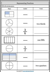 fractions worksheets match