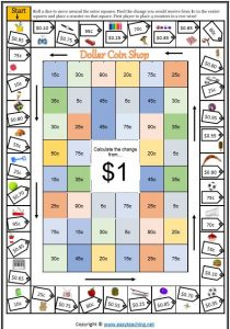 change from $1 money game maths counting money worksheets