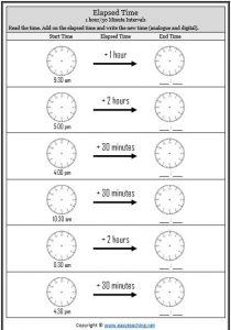 elapsed time 30 minute worksheet