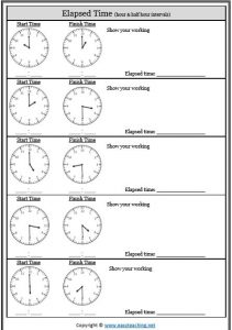 elapsed time analogue clock worksheet
