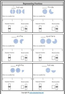 improper mixed number line improper fractions mixed numbers worksheets