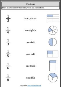 fractions match representing fractions worksheets