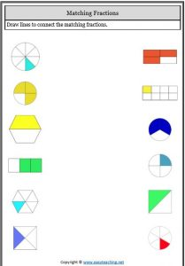 matching fractions equivalent fractions worksheets