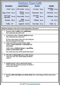 money worksheet menu calculating change