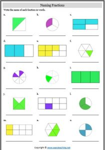 naming fractions representing fractions worksheets