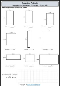 perimeter worksheet maths measurement