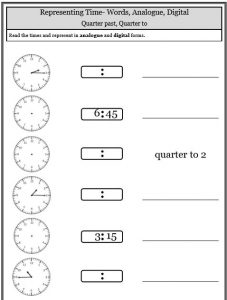 quarter past to fill in blank times telling time worksheets