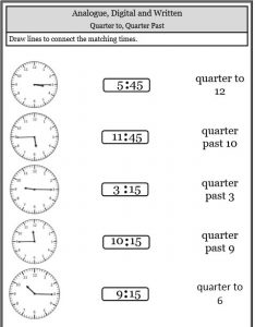 quarter past quarter to match up activity telling time worksheets