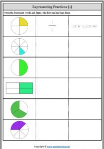 fraction symbol and words representing fractions worksheets