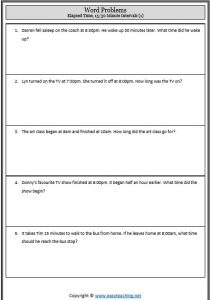 elapsed time word problems worksheet