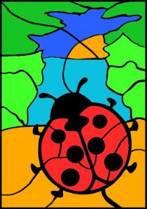 addition colour by number lady beetle