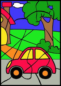 colour by number worksheet car