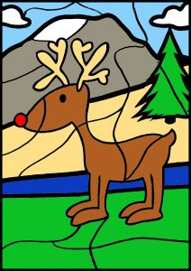 colour by number deer christmas rudolph