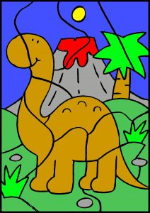 colour by number dinosaur