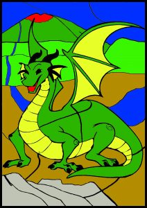 colour by number worksheet dragon
