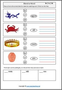 blend build a word blends worksheets