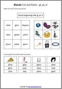 blends cut and paste digraphs