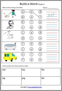 cvc build a word cvc worksheets