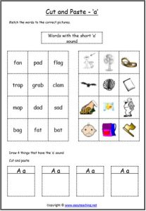 letter sound cut paste worksheet