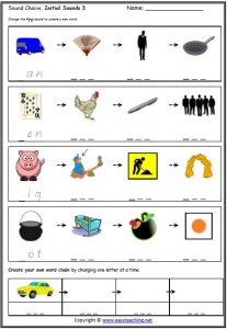 cvc word chains cvc rhyme worksheets