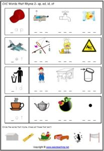 graphic about Phonemic Awareness Printable Games named Phonemic Information Rhyme Worksheets