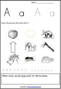 initial sound picture letter worksheet
