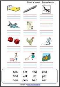 cvc words writing worksheet